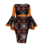 Mfasica Women African Print Dashiki Cotton Flare Sleeve Party Cocktail Gowns 3 M