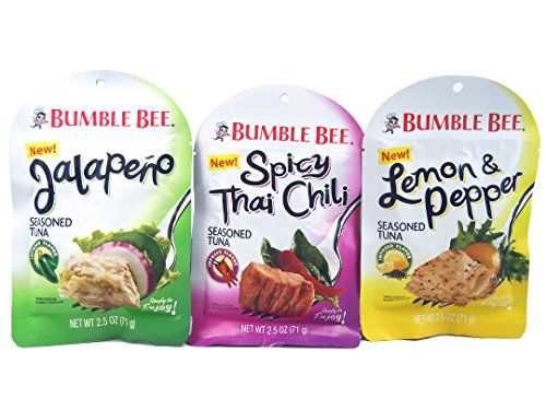 Bumble Bee NEW Seasoned Tuna Spicy Thai Chili, Jalapeno, and Lemon & Pepper 2.5 oz. Bundle of 3 Pouches