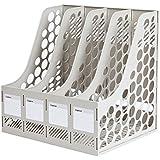 COMIX 4 Compartments Desktop File Book Magazine Sorter Holder Organizer Grey