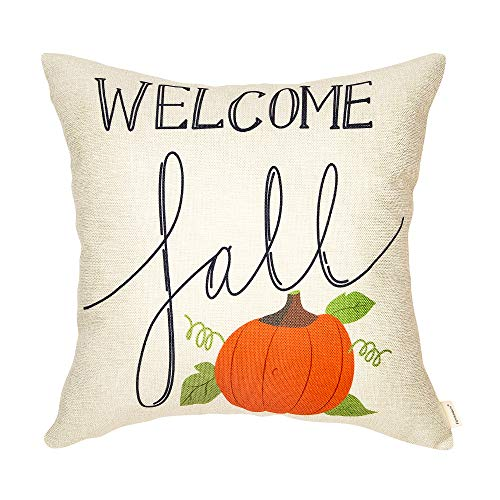 Fahrendom Welcome Fall Pumpkin Autumn Sign Thanksgiving Day Gift Harvest Seasonal Quote Cotton Linen Home Decorative Throw Pillow Case Cushion Cover with Words for Sofa Couch 18 x 18 in -