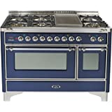 48 - 7 Burner Dual Fuel Range + Griddle with Convection Oven Finish: Midnight Blue