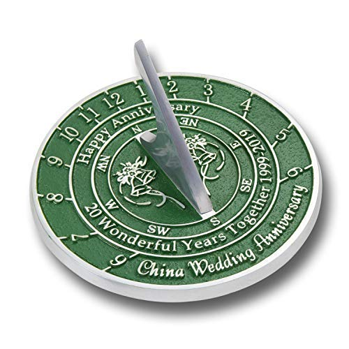 The Metal Foundry 20th China Wedding Anniversary 2019 Sundial Gift Idea is A Great Present for Him, for Her Or for A Couple to Celebrate 20 Years of Marriage