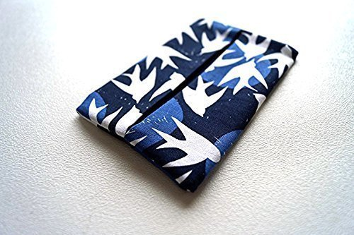 Dove Holder (Blue Fabric Pocket Travel Tissue Cover with White Birds)
