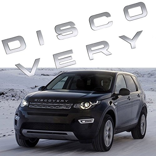 Xotic Tech Letter DISCOVERY 3D Matte Silver Car Rear Front Badge Emblem Decal Sticker For LAND ROVER Front Hood Rear Trunk