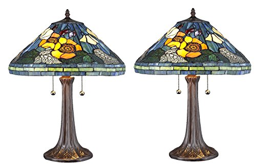 (Tiffany Stained Glass Water Lily Table Lamp SET)