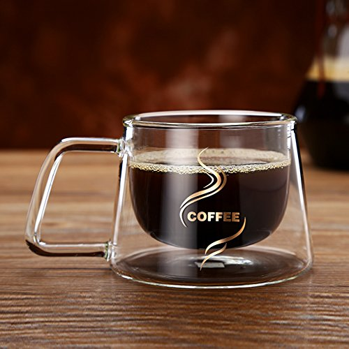 YIFANYU Double Wall Insulated Glass Espresso Mugs Heat Resistant Clear Glass Coffee Tea Cups With Handle by YIFANYU (Image #6)