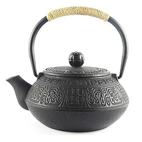 Hwagui Best Japanese Cast Iron Teapot With Stainless Steel Tea Infuser, Black Tetsubin Tea Kettle Stovetop Safe 600ml/20oz