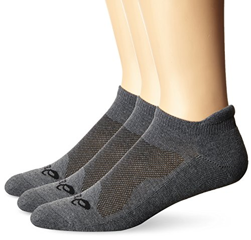 - ASICS Cushion Low Cut Socks (Pack of 3), Grey Heather, Large