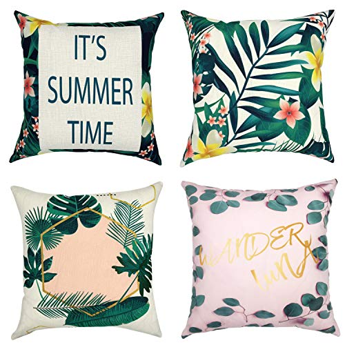 - YOUR SMILE Set of 4 Decorative Home Decor Design Throw Pillow Case Cushion Covers for Couch Sofa Square 18x18 Inch (Summer Series)