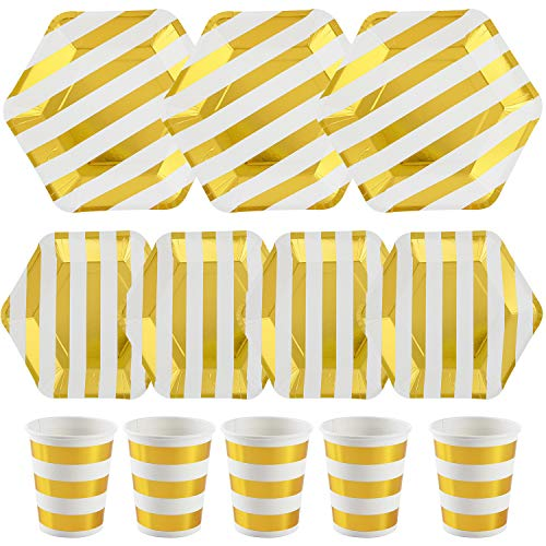 White Stripe Plate Gold - ALINK 150PCS White Gold Metallic Striped Paper Plates and Cups Set, 50 Dinner Plates, 50 Salad/Dessert Plates, 50 9 oz Cups for Thanksgiving, Christmas, Baby/Bridal Shower, Wedding, Birthday, Holid