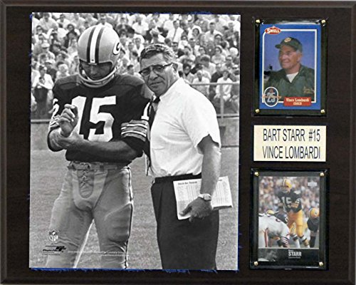 NFL Bart Starr and Vince Lombardi Green Bay Packers Player Plaque, Brown, 12 x 15-Inch