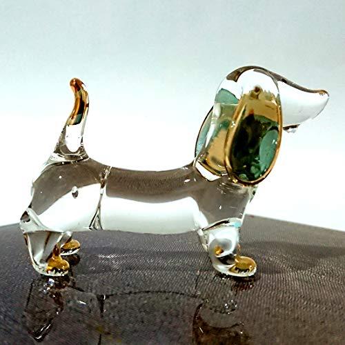 Sansukjai Dachshund Figurines Animals Hand Blown Glass Art Gold Trim Collectible Gift Decorate