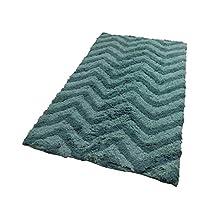 FLUFFY SOFT CHEVRON DUCK EGG TEAL 100% COTTON BATHMAT BATH MAT RUG W50CM X L80CM