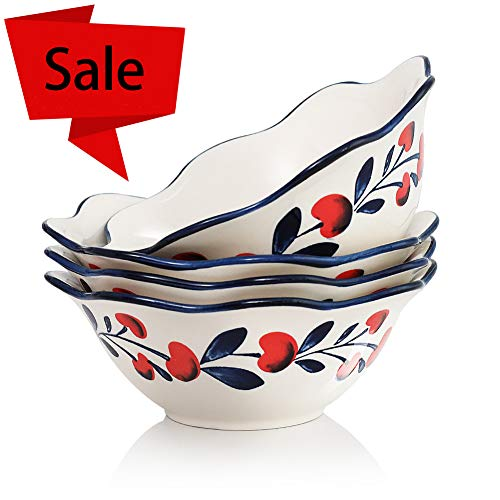 7 inch Salad Bowls 28 Oz for Cereal, Pasta,Soup Oven Safe, Lead-free Stoneware Set of 4 by Sweejar