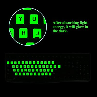[2 Pack] English Keyboard Stickers, FORITO Glowing Keyboard Letter Stickers for PC Computer Keyboard/Laptop Keyboard/Desktop Keyboard -Glowing Edition: Computers & Accessories