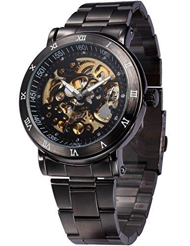 AMPM24 Men's Skeleton Black Dial Automatic Mechanical Dark Silver Steel Wrist Watch Gift - Skeleton Black Mechanical Dial