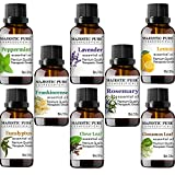 MAJESTIC PURE Essential Oils Set for Aromatherapy and Diffuser -Natural Therapeutic Grade Lavender, Eucalyptus, Peppermint, Lemon, Frankincense, Clove, Cinnamon and Rosemary Oils, Pack 8 x 10ml