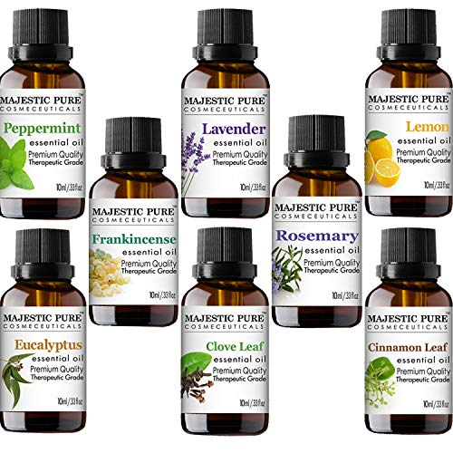 (MAJESTIC PURE Essential Oils Set for Aromatherapy and Diffuser -Natural Therapeutic Grade Lavender, Eucalyptus, Peppermint, Lemon, Frankincense, Clove, Cinnamon and Rosemary Oils, Pack 8 x 10ml)