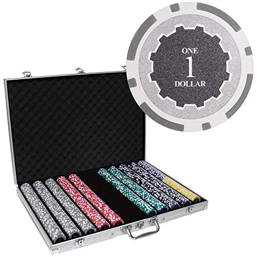 Brybelly 1,000 Ct Eclipse Poker Set - 14g Clay Composite Chips with Aluminum Case, Playing Cards, Dealer Button ()