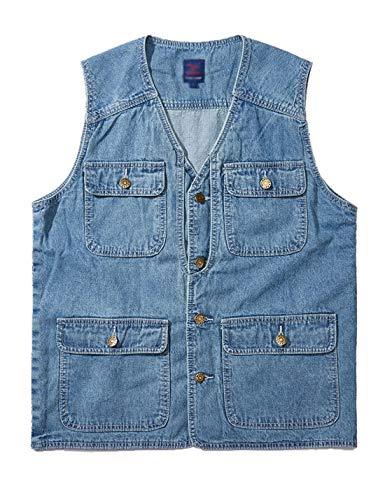 HUPOO Men's V Neck Sleeveless Buttons Hiking Fishing Photograph Outdoor Denim Jean Vests Waistcoats (Light Blue, Large)