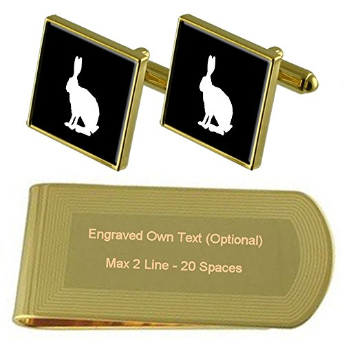 Money Gift tone Cufflinks Hare Hare Engraved Clip Gold Gold Set qwX7n6xt8