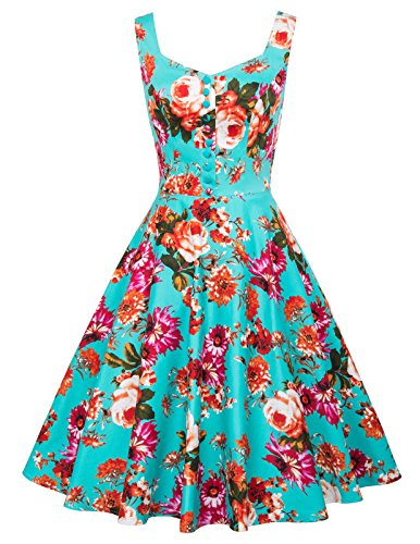 Green Floral Vintage Sleeveless Prom A Line Dress XL BP416-2 -