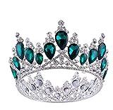 Girls Crown, Beautiful headdress/Golden Round Princess Princess Diamond Crown Wedding Bridal Headwear Wedding Dress Crown Ornaments. (Color : A)
