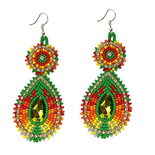 - Handmade Seed Beaded Teardrop Hook Earrings (Green Orange)