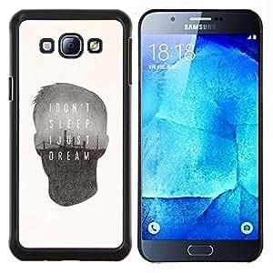 Caucho caso de Shell duro de la cubierta de accesorios de protección BY RAYDREAMMM - Samsung Galaxy A8 A8000 - cita de soñar el sueño cartel profundo mensaje