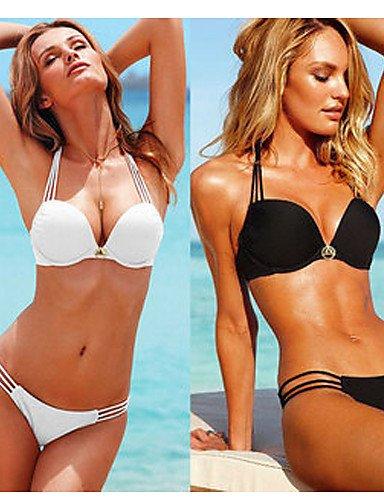 Damen Bikinis - Einheitliche Farbe/Floral/Einfarbig/Geometrisch Bügel-BH/Polsterloser BH Nylon/Elasthan Halfter , white-m , white-m