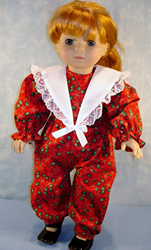 18 Inch Doll Clothes - Red Christmas Poinsettia Jumpsuit handmade by Jane Ellen for 18 inch -
