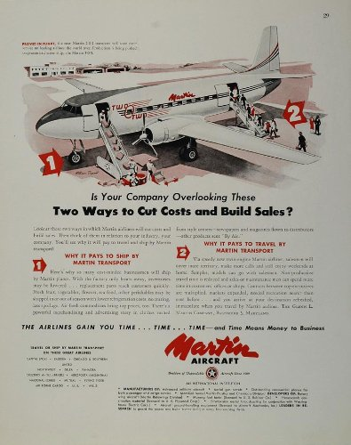 Airliner Plane (1947 Ad Martin 2-0-2 Two O Two Airplane Plane Airliner - Original Print Ad)