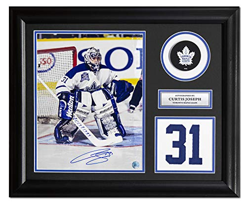 AJ Sports World Curtis Joseph Toronto Maple Leafs Signed Franchise Jersey Number 23x19 Frame