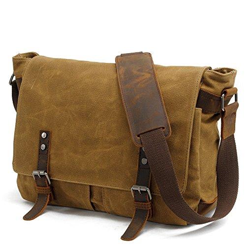 Sunbobo Bolso de la cámara de la lona de la prenda impermeable con cremallera retro simple Bolso de la bolsa de hombro de la cartera del maletín Color Caqui