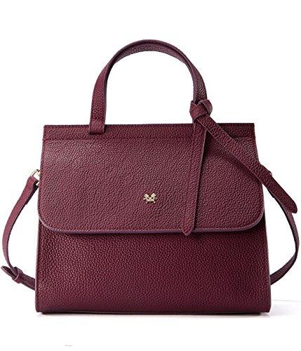EMINI HOUSE Women Influencer Fashion Bowknot Handle Bag with Buckle Closure Litchi Grain Genuine Leather ()