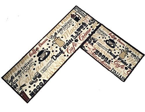 "Easychan 2 Piece Kitchen Rugs Rubber Backing Non-Slip Rugs Doormat Set, (15""x47""+15""x23"", coffee bean)"
