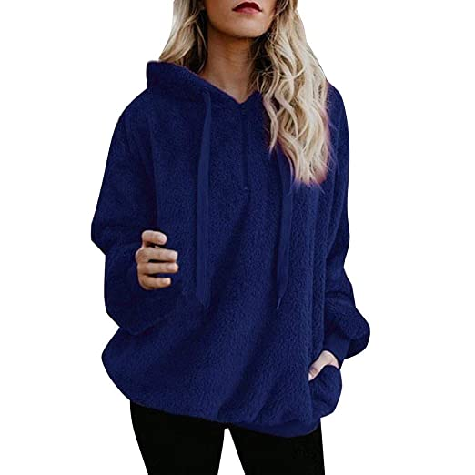 fbd5c8e347 Liraly Winter Pullovers For Women Ladies Warm Fluffy Top Hoodie Sweatshirt  Hooded Pullover Jumper(Blue