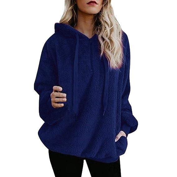 NPRADLA Women Warm Fluffy Winter Top Hoodie Sweatshirt Ladies Hooded  Pullover Jumper  Amazon.co.uk  Clothing bf9f55c51