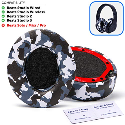 Premium Beats Studio 3 Wireless Ear Cushions by Wicked Cushions - Compatible with Beats Studio 2 / Wired/Wireless - Extreme Comfort with Ear Adapting Memory Foam & Super Strong Adhesive | Snow Camo