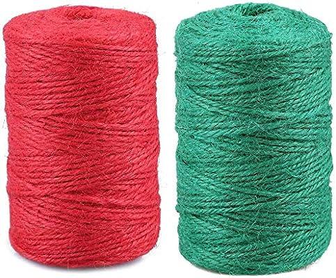 jijAcraft - Cuerda de Yute de 328 pies, 2 mm, Cuerda de jardín para Manualidades, Paquete de Regalo y Aplicaciones de jardinería, Rojo y Verde, 2 PC: Amazon.es: Jardín