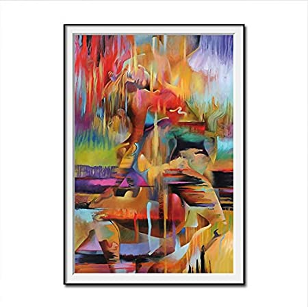Gaowei Abstract Woman And Man Body Art Canvas Oil Painting Wall Art Pictures Canvas Poster For Living Room Hd Modern Home Decoration 50x70cm Frame Amazon Co Uk Kitchen Home