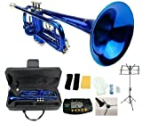 Merano B Flat Blue / Silver Trumpet with Case+Mouth Piece+Valve Oil+Metro Tuner+Black Music Stand+Trumpet Stand