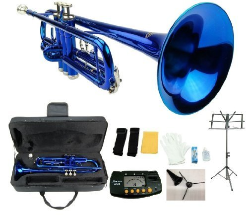 Merano B Flat Blue / Silver Trumpet with Case+Mouth, used for sale  Delivered anywhere in USA
