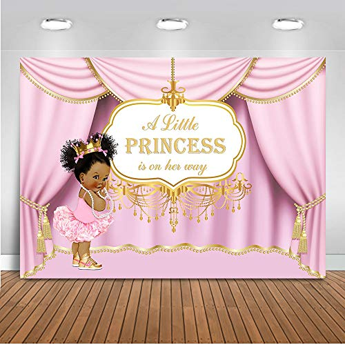 Mocsicka Royal Pink Princess Backdrop Royal Curtain Baby Shower Photography Background 7x5ft Vinyl Princess Baby Shower Banner Backdrops ()