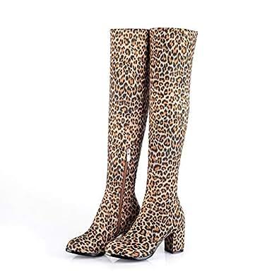 Amazon.com | Leopard Print High Heel Shoes Winter Snow