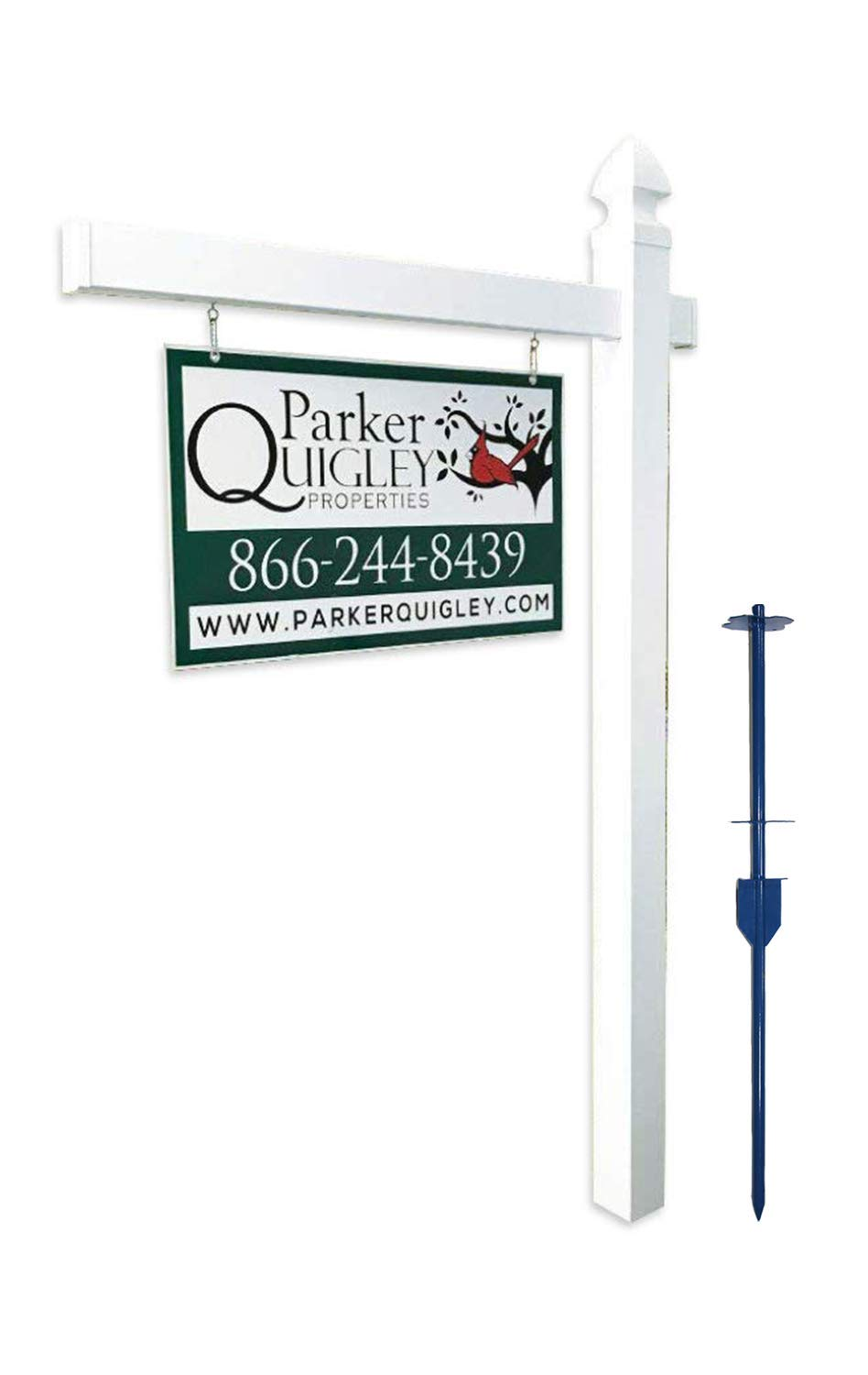 Vinyl PVC Real Estate Sign Post - White - 6' Tall Post White 47'' Arm by 4EVER (Image #1)