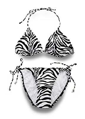 Wild Fun Black and White Zebra Print Triangle Top String Bikini