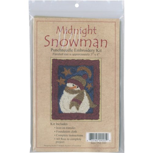 - Rachel's Of Greenfield Midnight Snowman Punch Needle Kit, 3 by 4-Inch