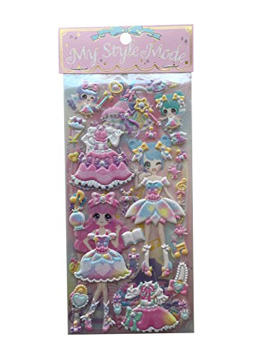 Fairies Glitter Sticker Sheets - My Style Mode Dress-up Princess Kawaii Doll Puffy Glitter Stickers Play Set 2-Sheets Collection1 Set per Order (Cotton Candy Fairy)