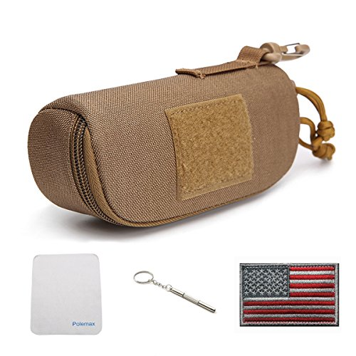 Tactical Molle Zipper 1000D Nylon Sunglasses Case Eyeglasses Hard Case Outdoor Portable Travel Carry Glasses Case (Brown)